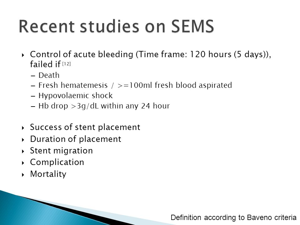 Recent studies on SEMS Control of acute bleeding (Time frame: 120 hours (5 days)), failed if [12] Death.